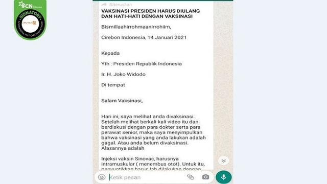 Cek Fakta: Tidak Benar Penyuntikan Vaksin Covid-19 Jokowi Gagal dan Harus Diulang