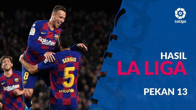 Berita video hasil La Liga 2019-2020 pekan ke-13. Barcelona dan Real Madrid raih kemenangan dengan skor besar.