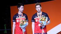 Ganda putra Indonesia, Kevin Sanjaya Sukamuljo/Marcus Fernaldi Gideon, menjadi runner up pada Kejuaraan Bulutangkis Asia 2019 di Wuhan, China, Minggu (28/4/2019). (PBSI)