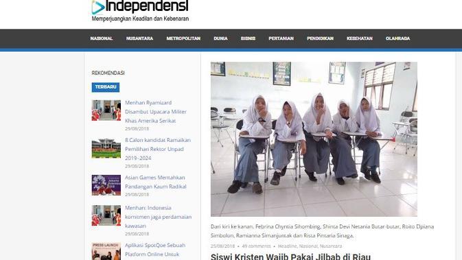 Screenshot: Cek Fakta - Kewajiban Berjilbab Siswi SMAN di Rokan Hulu, Riau. (Liputan6.com)