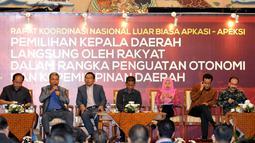 Asosiasi Pemerintah Kabupaten Seluruh Indonesia (Apkasi) dan Asosiasi Pemerintah Kota Seluruh Indonesia (Apeksi) itu melakukan pertemuan rapat koordinasi di Jakarta, (11/9/14). (Liputan6.com/Panji Diksana)