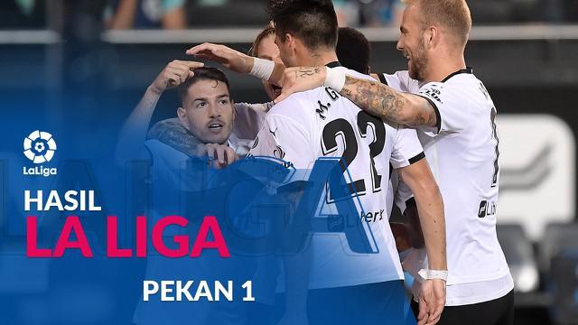 Berita motion grafis hasil Liga Spanyol pekan 1. Valencia pimpin klasemen sementara setelah menang 4-2 dari Levante.