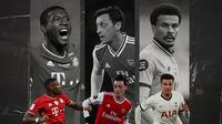 David Alaba, Mesut Ozil dan Dele Alli. (Bola.com/Dody Iryawan)