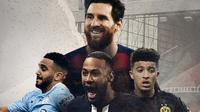 Riyad Mahrez, Neymar, Jadon Sancho dan Lionel Messi. (Bola.com/Dody Iryawan)