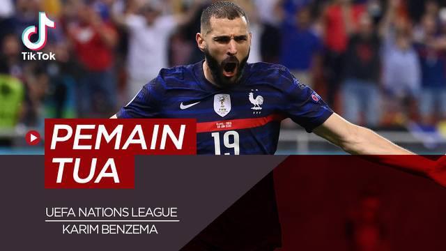 Berita video TikTok membahas tentang lima pemain tua yang bermain di semifinal Semifinal UEFA Nations League, salah satu diantaranya yakni Karim Benzema.