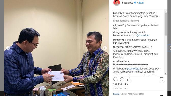 Unggahan pertama Ahok setelah bebas dari Mako Brimob (Foto: Instagram @basukibtp)