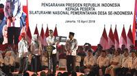 Presiden Joko Widodo memberikan arahan dalam Silaturahmi Nasional Pemerintahan Desa se-Indonesia di Jakarta, Rabu (10/4/2019).