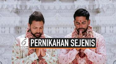Pasangan sejenis asal India, menikah di kuil di New Jersey menggunakan adat tradisional dalam agama Hindu India.