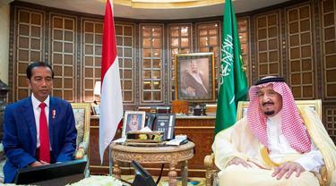 Presiden Jokowi bertemu Raja Salman bin Abdulaziz. (Alekhbariyahtv)