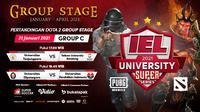 Live streaming IEL University Super Series 2021 fase Grup C, Kamis (21/1/2021) dapat disaksikan melalui platform Vidio, laman Bola.com, dan Bola.net. (Dok. Vidio)