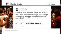 """Aktris Marsha Timothy di akun Twitter, @Marshatimothy2 menulis status, """"Selamat Jalan mas Didi Petet .We love u n We ll miss u.We ll never forget you. Smoga keluarga yg ditinggal diberi kekuatan dan keikhlasan.."""" (twitter.com/Marshatimothy2)"""