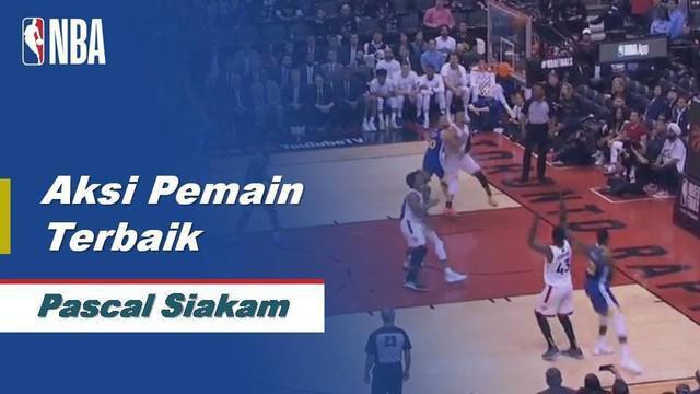 Berita video aksi mengagumkan dari forward Toronto Raptors, Pascal Siakam pada gim pertama final NBA menghadapi Golden State Warriors.