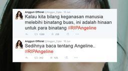 "Di akun Twitternya @Anggun_Cipta, ia kekesalannya. ""Kalau kita bilang keganasan manusia melebihi binatang buas, ini adalah hinaan untuk para binatang. #RIPAngeline,"" tulisnya. (twitter.com/Anggun_Cipta)"