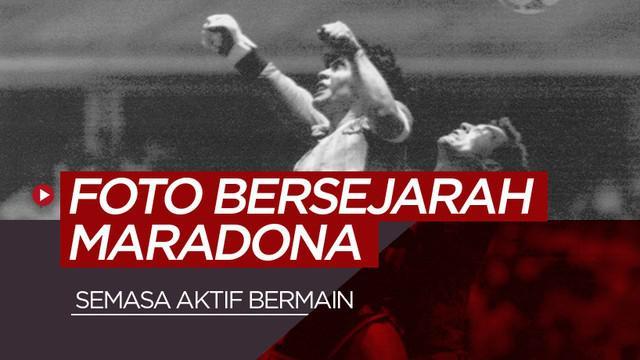 Berita motion grafis 5 foto dari momen bersejarah Diego Maradona semasa aktif bermain.