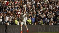 Selebrasi winger Real Madrid, Gareth Bale usai mencetak gol ke gawang Leganes. (AP Photo/Daniel Ochoa de Olza)