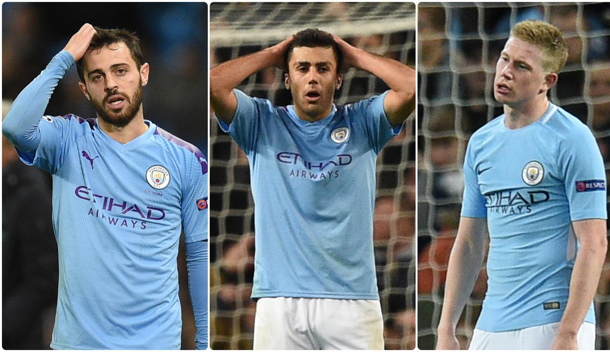 Manchester City berpotensi ditinggalkan sejumlah pemain bintang mereka karena tidak boleh berlaga di pentas Liga Champions dan kompetisi turunannya selama dua musim. Berikut pemain Manchester City yang diprediksi bakal hengkang di musim panas nanti. (Kolase foto AFP)