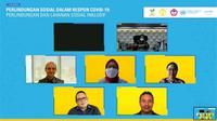 Kegiatan webinar Kemensos bersama Unicef dengan tema Melindungi Orang dalam Menanggapi Covid-19: Perlindungan dan Layanan Sosial Inklusif