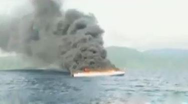 Kapal Cepat Terbakar di Halmahera Barat