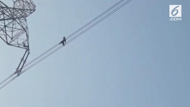 Pria asal India mencoba bunuh diri dengan berjalan di kabel listrik tegangan tinggi. Polisi berhasil menggagalkan aksi tersebut setelah negosiasi selama 1 jam.