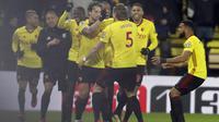 Para pemain Watford merayakan gol ke gawang Chelsea pada lanjutan Premier League di Vicarage Road stadium, London, (5/2/2018). Chelsea kalah 1-4. (AP/Frank Augstein)
