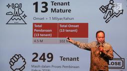 Menristekdikti Mohamad Nasir memberi paparan saat jumpa pers jelang pameran Inovasi Inovator Indonesia Expo (I3E), di Jakarta, Selasa (10/9/2019). Pameran yang memasuki tahun ke-5 bertujuan untuk mempromosikan produk-produk inovasi teknologi hasil karya anak bangsa. (Liputan6.com/Fery Pradolo)