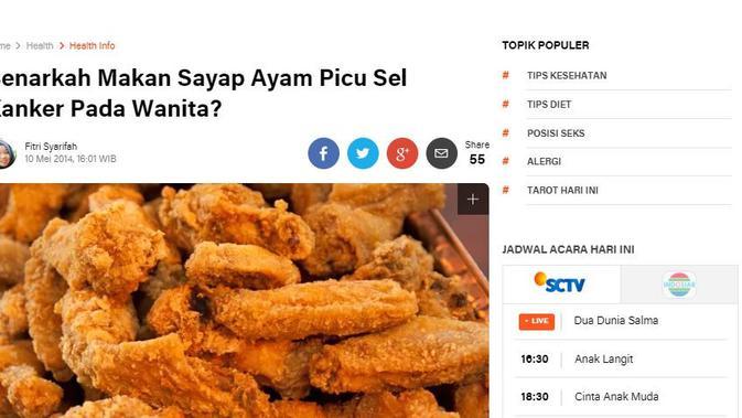 [Cek Fakta] Makan Sayap dan Ceker Ayam Picu Kanker Terutama Bagi Wanita, Fakta atau Hoaks?