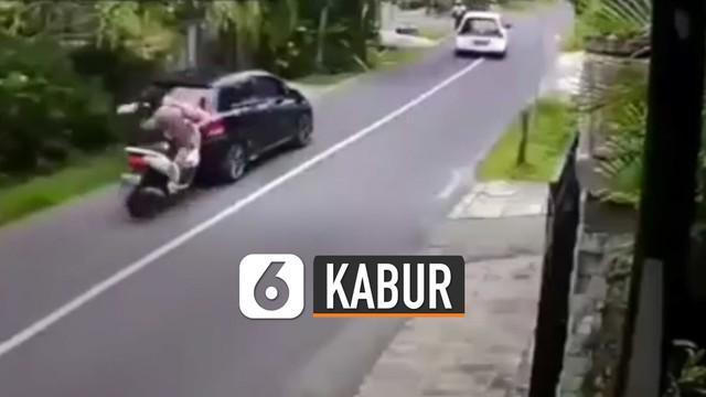Bukan berhenti dan bicara baik-baik, pemotor malah kabur.