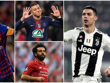Berikut ini daftar kandidat pemain terbaik FIFA 2019. Masih ada nama Cristiano Ronaldo dan Lionel Messi. (Foto Kolase AP dan AFP)