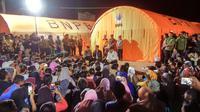 Presiden Joko Widodo atau Jokowi menyambangi korban gempa Lombok, NTB. (dokumentasi BNPB)