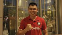 Petinju Indonesia, Chris John, saat menghadiri konferensi pers MMA Brave Fighter di Hotel Santika, Jakarta, Kamis (10/5/2018). (Bola.com/M Iqbal Ichsan)