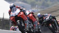 Pembalap Ducati Corse, Andrea Dovizioso saat beraksi pada MotoGP Prancis 2018 di Sirkuit Bugatti, Le Mans. (Twitter/Ducati Motor)