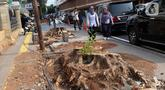 Pejalan kaki melintas di sisi sisa pohon yang ditebang untuk revitalisasi trotoar di kawasan Cikini, Jakarta, Kamis (21/11/2019). Setiap 21 November diperingati sebagai Hari Pohon Sedunia, hal ini untuk mengingatkan masyarakat akan manfaat tanaman bagi kehidupan. (Liputan6.com/Helmi Fithriansyah)
