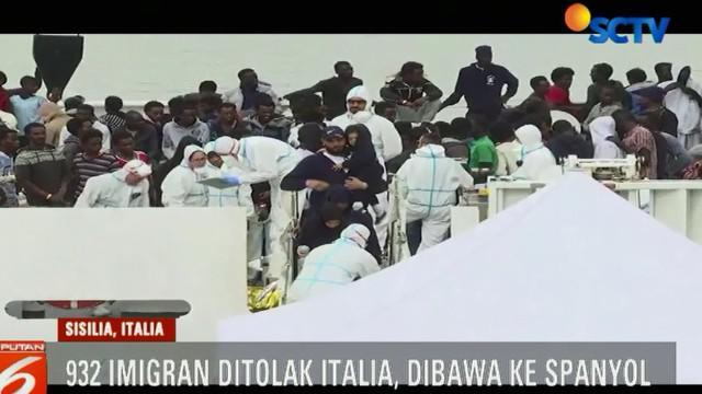 Kapal penyelamat imigran ditolak memasuki Pelabuhan Italia, dan kini menuju Spanyol.