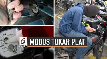 Polisi membongkar praktik pencurian motor dengan modus plat nomor palsu.