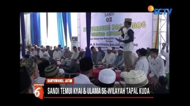 Safari politik di Banyuwangi, Jawa Timur, Sandiaga Uno janji akan dorong pengesahan RUU pesantren.