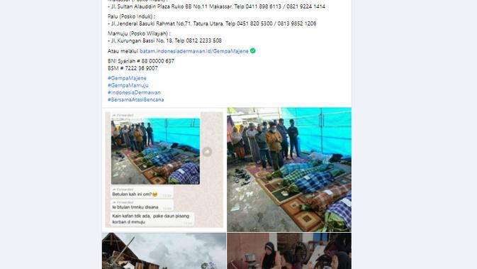 Cek Fakta Liputan6.com menelusuri foto jenazah korban gempa Mamuju dibungkus daun pisang
