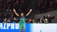 Ekspresi pemain Tottenham Hotspur, Lucas Moura, setelah membobol gawang Ajax Amsterdam pada leg kedua semifinal Liga Champions di Amsterdam Arena, Kamis (9/5/2019) dini hari WIB. (AFP/John Thys)