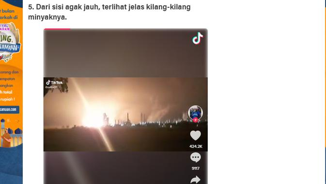 Cek Fakta Liputan6.com menelusuri klaim video detik-detik kilang Pertamina meledak