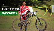 Tiara Andini Prastika membawa Indonesia meraih emas ketiga di Asian Games 2018 cabang sepeda downhill.