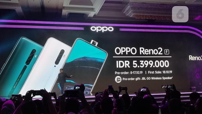 Oppo resmi perkenalkan smartphone teranyar mereka, Reno 2. (Liputan6.com/ Agustinus Mario Damar)