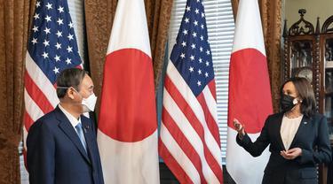 PM Jepang Yoshihide Suga dan Wapres AS Kamala Harris.