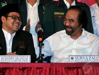'Senyuman' Cak Imin dan Surya Paloh di Markas PDIP