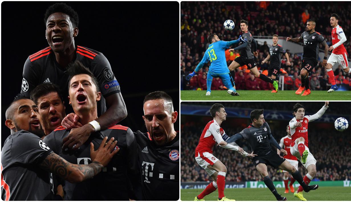 Bayern Muenchen pernah menghajar Arsenal dengan skor telak 10-2 saat berlaga di babak 16 besar Liga Champions 2017. Skor 10-2 ini menjadi gol agregat terbanyak dalam sejarah babak 16 besar Liga Champions. (kolase foto AFP)