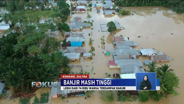 Sebanyak kurang lebih 74 ribu warga Konawe, Sulawesi Utara, terdampak banjir sudah selama sepekan.