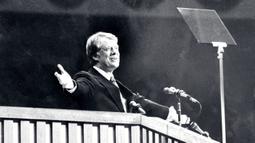 Kandidat presiden Amerika Serikat Jimmy Carter saat Konvensi Nasional Partai Demokrat di New York City, Juni 1976. Presiden AS ke-39 yang menjabat pada tahun 1977-1981 ini kalah dari Ronald Reagan karena faktor stagflasi dan gagalnya penyelamatan sandera AS di Iran. (Photo by STR/LEHTIKUVA/AFP)