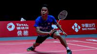 Tunggal putra Indonesia, Anthony Sinisuka Ginting, saat tampil di BWF World Tour Finals 2019 (PBSI)