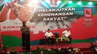 Kepala Kantor Staf Presiden (KSP) Moeldoko menghadiri pembukaan Rekernas IV Relawan Jokowi atau Projo. (Liputan6.com/Ika Defianti)