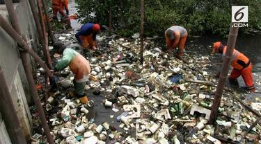 Petugas PPSU melakukan bersih-bersih hutan mangrove teluk Jakarta. Hasilnya banyak ditemukan sampah yang berasal dari Bekasi.