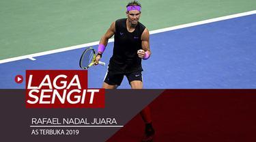 Berita video Rafael Nadal menjuarai AS Terbuka 2019 (US Open 2019) setelah mengalahkan Daniil Medvedev dalam laga sengit final yang berlangsung hampir 5 jam, Minggu (8/9/2019).