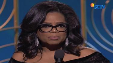 Oprah  sempat menyatakan tak pernah berpikir menjadi presiden menyatakan siap penuhi permintaan banyak orang yang resah dengan Donald Trump